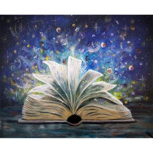 Schilderij - Magisch boek 50x40 - Cailleaghs